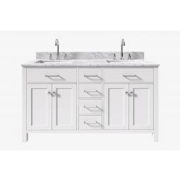 Belmont decor hampton 61 in. double sink vanity with rectangle sink in white