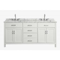 Belmont decor hampton 73 in. double sink vanity with rectangle sink in white